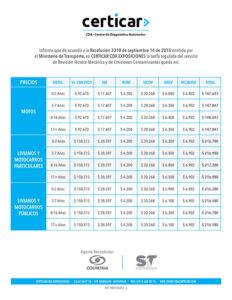 Tarifas Certicar CDA Exposiciones